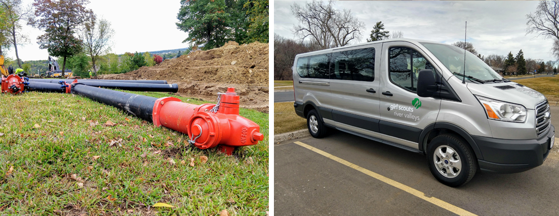 Upgraded water and sewer service and new van with Girl Scouts River Valleys logo