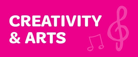 Creativity & The Arts Events are Signified by the Magenta Color