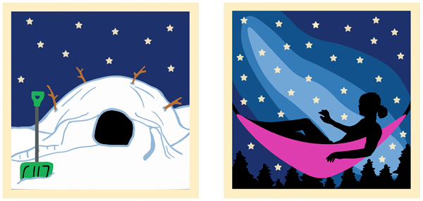 Patch of a quinzee with a shovel at night and patch of a girl sleeping under the stars in a hammock.