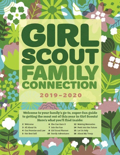Thumbnail of cover image with blue, green and purple flowers with text Family Connection Guide 2019-2020 welcome to your family's go-to, supre fun guide to getting the most out of this year in Girl Scouts!