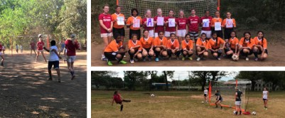 Graphic of the TrefoilIsla Horscroft plays soccer with the girls' soccer team she helped build in San Carlos, Nicaragua for her Gold Award Project.