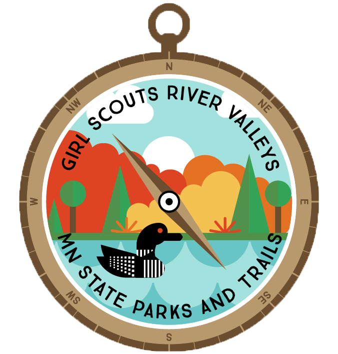 Compass shaped patch with lake, trees, and loon with text Girl Scout River Valleys MN State Parks and Trails