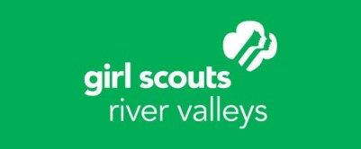 Girl Scouts River Valleys' white service mark on green background.