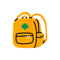 A doodle style drawing of a yellow backpack with a green Girl Scout logo