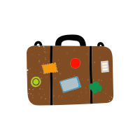A doodle style drawing of a brown suitcase covered in patches and stickers