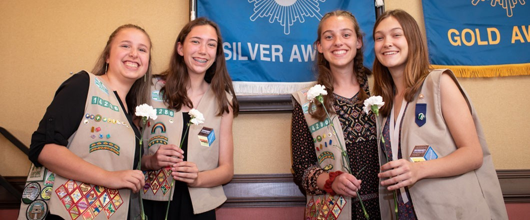 Girls at a Silver Award Ceremony