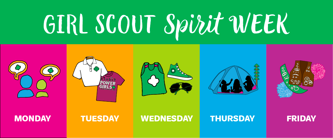 Girl Scout Spirit Week (Monday) Graphic of two friends talking (Tuesday) Graphic of two Girl Scout shirts (Wednesday) Graphic of Green shoes, shirt, and glasses (Thursday) Graphic of girls in a tent (Friday) Graphic of Girl Scout uniforms