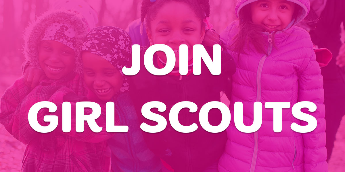 Three girl scouts smiling in jackets with text, Join Girl Scouts