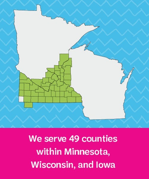 Map of counties served in Minnesota, Wisconsin, and Iowa