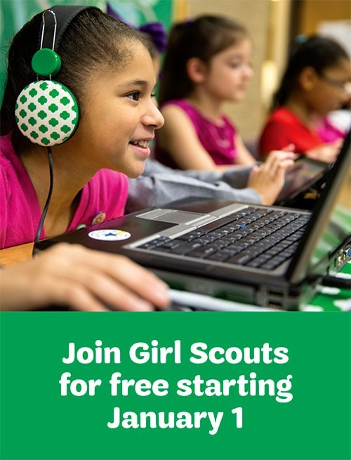Join Girl Scouts for free starting January 1