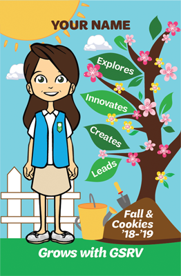 Blue and Green Patch with Your Name and a Girl Scout Standing Next to a Colorful Tree with the words: Explores, Innovates, Creates, Leads,.