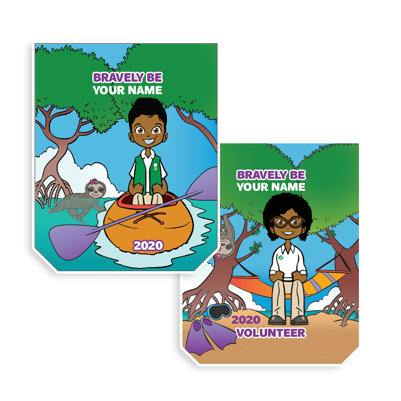 Colorful patch with your Girl Scout Me2 avatar in the tropics on a kayak and in a hammock.