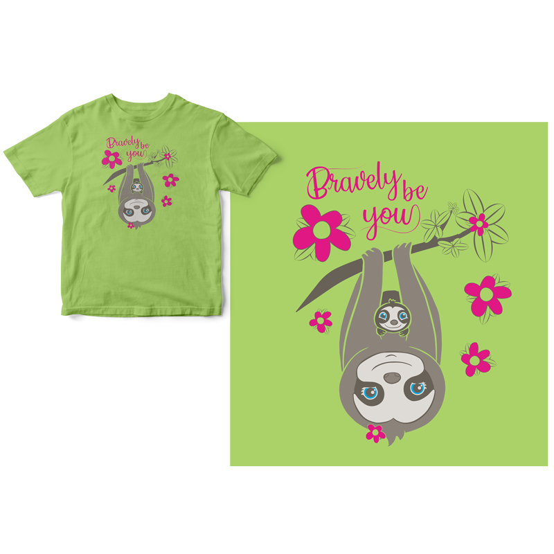 LIme green t-shirt with a mother and baby sloth hanging upside down from a branch with text, bravely be you.