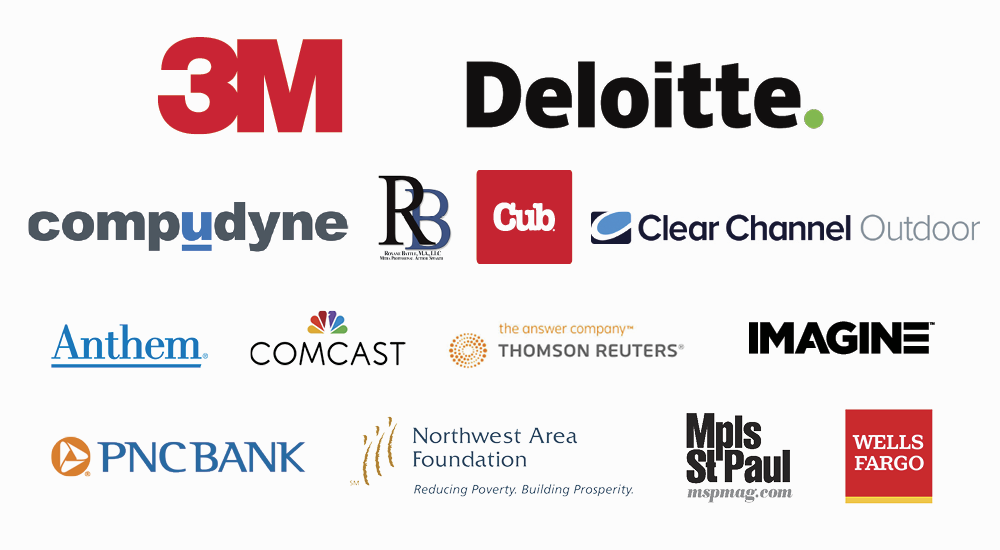 2020 Women of Distinction Sponsors, 3M, Clear Channel Outdoor, Compudyne, Cub, Deloitte, IMAGINE, Chankaska Creek Ranch & Winery, Minneapolis St Paul Magazine, Northwest Area Foundation, Roxanne Battle M.A. LLC, Thomson Reuters, PNC Bank, Anthem, Wells Fargo, Comcast